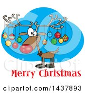 Clipart Of A Cartoon Reindeer With Ornaments On His Antlers Over Merry Christmas Text Royalty Free Vector Illustration by toonaday