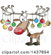 Clipart Of A Cartoon Christmas Reindeer With Ornaments On His Antlers Royalty Free Vector Illustration by Ron Leishman