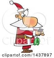 Clipart Of A Cartoon Christmas Santa Claus Texting On A Smart Phone Royalty Free Vector Illustration by toonaday