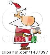 Cartoon Christmas Santa Claus Texting On A Smart Phone