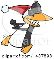 Clipart Of A Cartoon Christmas Penguin Doing A Happy Dance Royalty Free Vector Illustration by toonaday