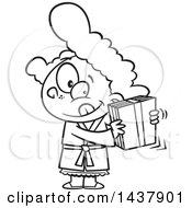 Cartoon Black And White Lineart Little Girl Shaking A Gift