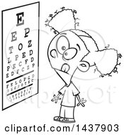 Cartoon Black And White Lineart Little Girl Looking At An Eye Chart