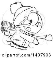 Cartoon Black And White Lineart Little Boy Throwing A Snowball
