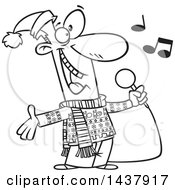 Clipart Of A Cartoon Black And White Lineart Man Singing Christmas Karaoke Songs Royalty Free Vector Illustration
