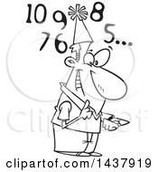 Cartoon Black And White Lineart Man Counting Down To New Year