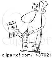 Cartoon Black And White Lineart Man Holding A Bill