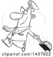 Cartoon Black And White Lineart Male Airline Pilot Walking Proudly With A Rolling Suitcase