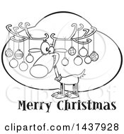 Clipart Of A Cartoon Black And White Lineart Reindeer With Ornaments On His Antlers Over Merry Christmas Text Royalty Free Vector Illustration by toonaday
