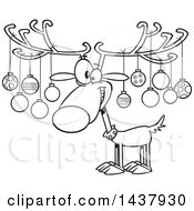 Clipart Of A Cartoon Black And White Lineart Christmas Reindeer With Ornaments On His Antlers Royalty Free Vector Illustration by toonaday