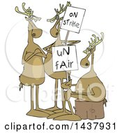 Clipart Of A Cartoon Groupof Christmas Reindeer On Strike Royalty Free Vector Illustration by djart