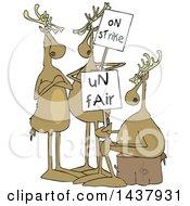 Cartoon Groupof Christmas Reindeer On Strike