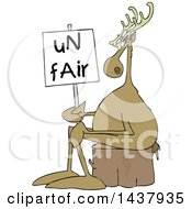 Cartoon Christmas Reindeer On Strike Sitting On A Stump With An Unfair Sign