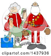 Clipart Of A Cartoon Christmas Santa Claus With The Mrs And Elves Royalty Free Vector Illustration