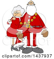 Clipart Of A Cartoon Christmas Santa Claus With The Mrs Royalty Free Vector Illustration by Dennis Cox