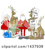 Clipart Of A Cartoon Christmas Santa Claus With The Mrs Elves And Protesting Reindeer Royalty Free Vector Illustration
