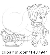 Clipart Of A Cartoon Black And White Lineart Happy Boy Pulling A Winter Sled Royalty Free Vector Illustration