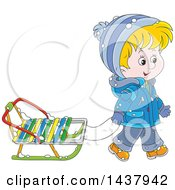 Cartoon Happy Caucasian Boy Pulling A Winter Sled