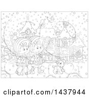 Cartoon Black And White Lineart Boy And Girl Holding Hands And Taking A Winter Stroll With A Dog On A Winter Day