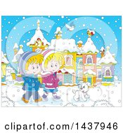 Clipart Of A Cartoon Happy Caucasian Boy And Girl Holding Hands And Taking A Winter Stroll With A Dog On A Winter Day Royalty Free Vector Illustration
