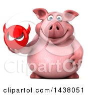 Clipart Of A 3d Chubby Pig Holding A Devil Head On A White Background Royalty Free Illustration