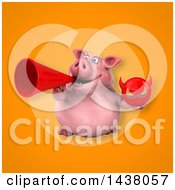 Clipart Of A 3d Chubby Pig Holding A Devil Head Royalty Free Illustration