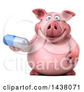 3d Chubby Pig Holding A Pill On A White Background