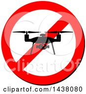 Clipart Of A Silhouetted Drone On A Prohibited Sign Royalty Free Vector Illustration