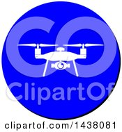 Clipart Of A Silhouetted Drone In A Blue Cicle Sign Icon Royalty Free Vector Illustration