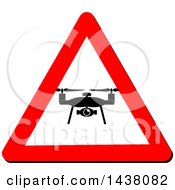Clipart Of A Silhouetted Drone In A Triangular Sign Royalty Free Vector Illustration