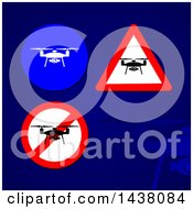 Clipart Of Drone Signs And Icons Over A Blue Background Royalty Free Vector Illustration