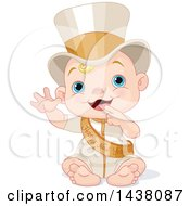 Clipart Of A New Year Baby Wearing A Sash And Top Hat Royalty Free Vector Illustration