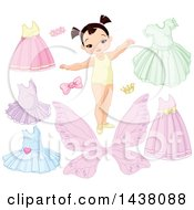 Clipart Of A Cute Asian Girl With Dress Up Clothes And Accessories Royalty Free Vector Illustration