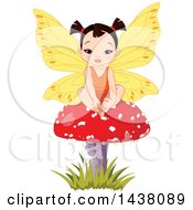 Clipart Of A Cute Asian Fairy Girl Sitting On A Mushroom Royalty Free Vector Illustration