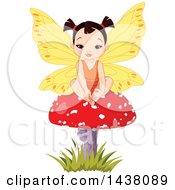 Cute Asian Fairy Girl Sitting On A Mushroom