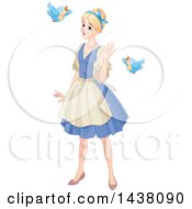 Clipart Of Birds Talking To Maid Cinderella Royalty Free Vector Illustration