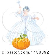 Clipart Of A Fairy Godmother From Cinderella Holding A Magic Wand Over A Pumpkin Royalty Free Vector Illustration