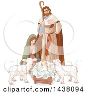 Clipart Of A Loving Shepherd Joseph Looking Down At Mary And Baby Jesus With Lambs Royalty Free Vector Illustration