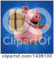 3d Chubby Pig Holding Boxes