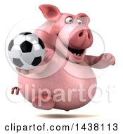 3d Chubby Pig Holding A Soccer Ball On A White Background