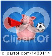 3d Chubby Pig Holding A Soccer Ball