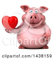 Poster, Art Print Of 3d Chubby Pig Holding A Heart On A White Background