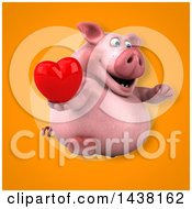Clipart Of A 3d Chubby Pig Holding A Heart Royalty Free Illustration
