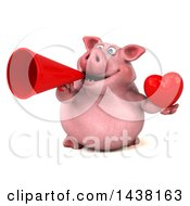 Clipart Of A 3d Chubby Pig Holding A Heart On A White Background Royalty Free Illustration