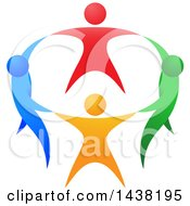 Clipart Of A Circle Of Colorful People Holding Hands Royalty Free Vector Illustration