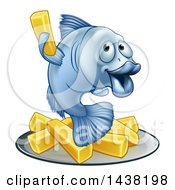 Clipart Of A Happy Blue Cod Fish Holding Up A Fry Over Chips Royalty Free Vector Illustration