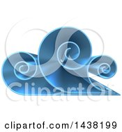 Clipart Of A 3d Blue Swirly Cloud Or Ocean Wave Logo Royalty Free Vector Illustration