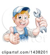 Poster, Art Print Of Cartoon Happy White Male Mechanic Holding A Spanner Wrench And Giving A Thumb Up
