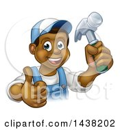 Cartoon Happy Black Male Carpenter Holding A Hammer And Giving A Thumb Up
