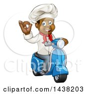 Clipart Of A Cartoon Happy Black Male Chef Gesturing Perfect Or Ok And Riding A Scooter Royalty Free Vector Illustration by AtStockIllustration